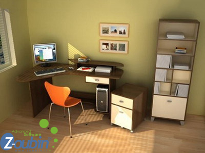 Simple and Calm Colors Scheme and Corner Desk Furniture in Small Modern Office Interior Layout Design Ideas